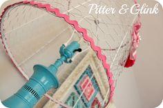 lampshade w/ chicken wire   {Craft Room Redo: Vintage Lamp Makeover}