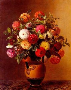 Dahlias in a Vase by Johan Laurentz Jensen, c. 1835. Oil on canvas