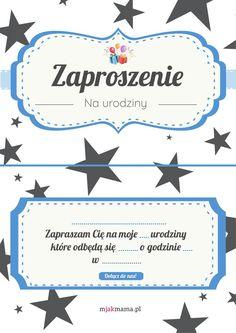 Zaproszenie na urodziny: zaproszenia urodzinowe do druku [PDF] - Mjakmama.pl Presents, Printables, Birthday, Party, Kids, Scrapbooking, Pictures, Crafting, Gifts