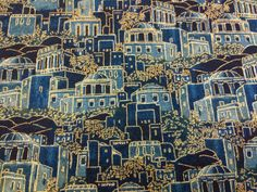 Ancient City Judaic Fabric Blue  with Gold Accents By the Half Yard by GoofingOffSewing on Etsy