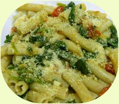 BIZZY BAKES: Penne with Grape Tomatoes and Spinach,