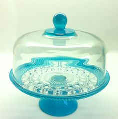 Full Size Vintage Cake Stand with Dome in Aqua