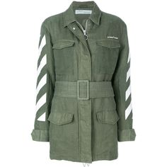 Off-White military jacket ($1,745) ❤ liked on Polyvore featuring outerwear, jackets, green, green military style jacket, military jackets, green field jacket, military inspired jacket and logo jackets