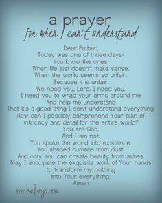 A prayer for when I can\'t understand