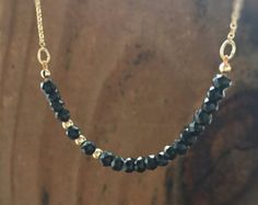 Black Spinel Beaded Necklace Ultra Dainty Black Gemstone Necklace 14kt Gold Filled Row of Gems Beaded Bar Jewelry