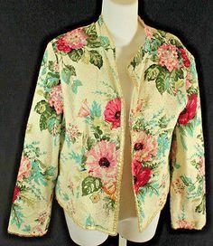 J. Jill Floral Print Blazer Jacket Womens Size Medium