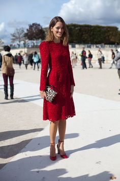 Street Style. PARIS FASHION WEEK: Spring 2013. This Valentino red lace dress is utterly timeless. harpersbazaar.com