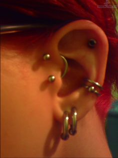Tragus To Anti Helix And Conch Piercing. Really wish I had the guts to get my tragus pierced!!