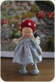 Made to order .Waldorf doll miniature . Elsa Beskow inspired . Dollhouse doll . 4 inch pocket doll.