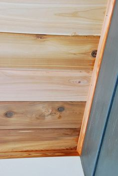 Check out how we completed a DIY cedar lined porch ceiling on our home. Step by step instructions and photos to guide you through the process! Wood Plank Ceiling, Porch Ceiling, Plank Walls, Wood Ceilings, Porch Wood, Diy Porch, Porch Ideas, Patio Ideas, Outdoor Ideas
