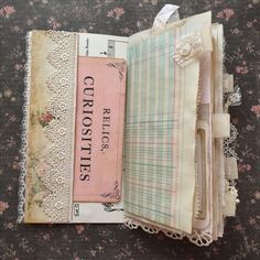 Travelers notebook junk journal use folded lace and button for tab