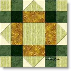 Lucky Clover quilt block pattern - an easy nine patch block featuring flying geese patches.