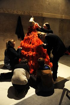 It remind me of the little mouses working on Cinderella's dress  Alexander McQueen  - Backstage