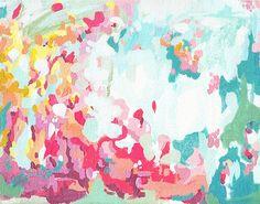 Summer Flower Garden 11x14 art print, bright abstract artwork, contemporary art, textural art, coral and teal, cottage art