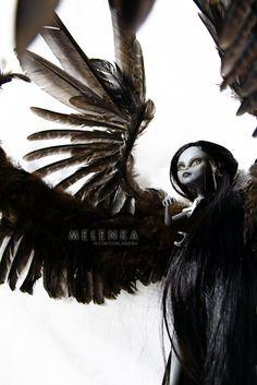 #Melenka #ooak #MonsterHigh #purrsephone #repaint #custom #doll #gabriel #angel #darkangel #wings #monster #high