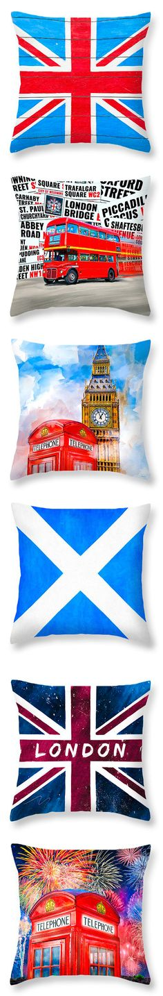 Assortment of fun British themed throw pillows - also available as art prints