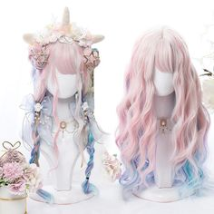 Kawaii Hairstyles, Cute Hairstyles, Pastel Wig, Pastel Blue, Pink Purple, Kawaii Wigs, Lolita Hair, Mode Kawaii, Mode Kpop