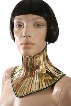 gold African tribal neck corset armor necklace gothic by divamp