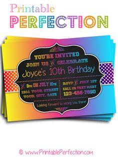 Birthday Party Invitation - Rainbow with Polka Dots 2