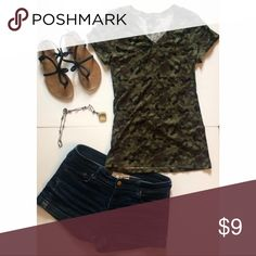 Camo Tee Cute camo tee for the taking! Semi-stretchy. Wet Seal Tops Tees - Short Sleeve