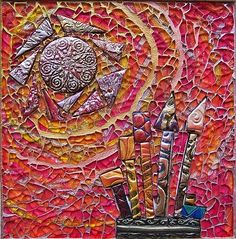 ceramic tile and polymer clay art | Made of handmade polymer clay tile, tempered glass. - Susan Crocenzi