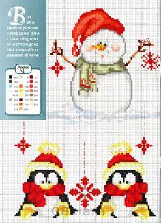 Gallery.ru / Фото #1 - 5 - Auroraten. Snowman and penguin cross stitch.