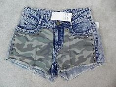 Hot-Delicious-NEW-Studded-Studded-Camouflage-Jean-Shorts-Size-S-L1-19
