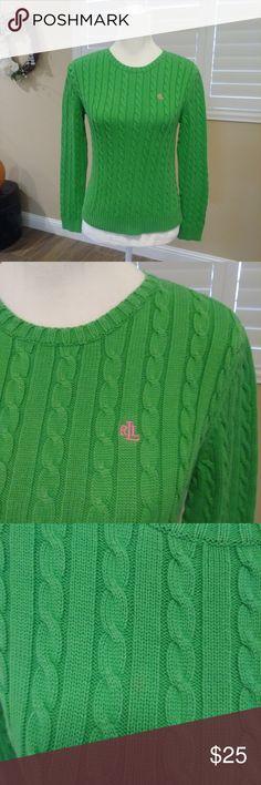 94264a12feb Lauren Ralph Lauren Green Cable Knit Sweater Small Lauren Ralph Lauren ~  Women s ~ Green Cable