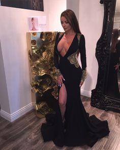 ecd1c33c23038 2018 Black Mermaid Prom Dresses Deep V-neck Long Sleeves Appliques High  Slit Evening Gowns Prom Dresses Special Occasion Dresses Buy High Quality  Dresses ...