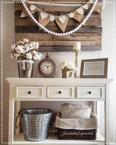 Entryway, pallets, olive bucket, rustic decor, neutral decor, burlap banner....so warm and inviting!