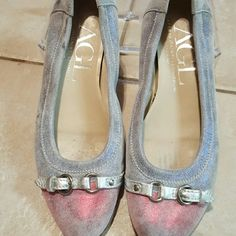 A G L Attila Giusti Leombruni Ballerina slip on flats from Nordstroms the color is like a grayish and the tip of the shoe is like a pinkish red it's got like this shine to it if you're familiar with AGL you'll know the coloring very unique Shoes Flats & Loafers
