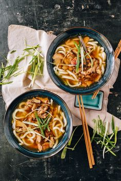 Udon Noodle Soup with Chicken & Mushrooms   Classic Asian flavors like soy sauce, shiitake mushrooms, mirin, and scallions, blend together in a savory broth. Check out the full recipe to see how to make this comforting dish for fall.