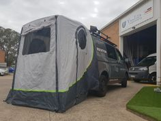 Features  All 3 doors with mosquito net doors Sewn-in bottom trough, closes with the hedge entrance PVC windows in the roof Space for a campbed Meets Australian requirements No poles required to erect the tent*, small pack size, light weight and simple construction make the Upgrade Premium the perfect rear tent for van drivers.  The new features such as mosquito nets, apron to the bumper and sewn-in floor pan provide additional comfort.  The front door can be set up as awning and the two...