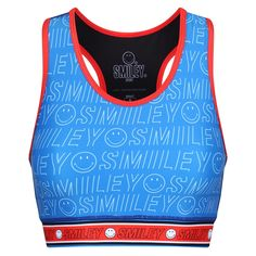 Your Smile, Make You Smile, Blue Sports Bras, Weight Training, Workout Tops, Retro Style, Smiley, Positive Vibes, Retro Fashion