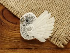 Gift for bridesmaids wedding pin bird bead embroidery