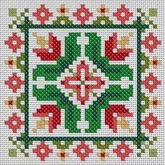 Tulips Scissor Fob or Ornament Cross Stitch PDF Chart Pattern Biscornu Cross Stitch, Cross Stitch Borders, Cross Stitch Charts, Cross Stitch Designs, Cross Stitching, Cross Stitch Embroidery, Cross Stitch Patterns, Christmas Cross, Square Quilt