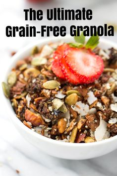 The ULTIMATE grain-free granola! With coconut, almonds, three types of seeds and sweetened naturally from maple syrup and dates! // @SimplyQuinoa Paleo-friendly, gluten-free