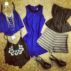 Cute tops and jewlery and shorts!