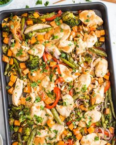 Sheet Pan Peanut Chicken and Vegetables Is a Weeknight Dream (Kitchn Chicken And Vegetables, Veggies, Creamy Garlic Chicken, Asiago Chicken, Chicken Chunks, Spicy Peanut Sauce, Peanut Butter, Peanut Chicken, Thing 1