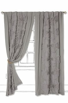 "Textured Tributary Curtain #anthropologie $148 - 208.00  Sold individually  Tunnel tab construction  Cotton voile, linen; cotton lining  Dry clean  50""W  Imported  Style #: 26143750"