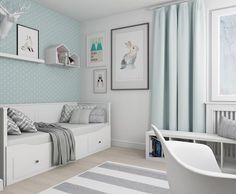 Set up 9 sqm children's room – tips for optimal furniture distribution – house decoration – Kids Room 2020 Baby Bedroom, Baby Room Decor, Nursery Room, Kids Bedroom, Mint Nursery, Kids Room Design, Wall Design, Cama Ikea, Lit Simple