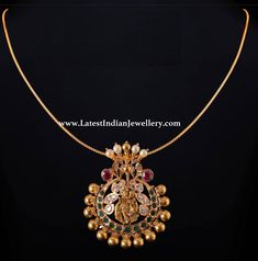 Sleek 22 karat gold chain teamed with eye catching Radha Krishna pendant in traditional design embellished with uncut diamonds, emeralds, rubies and gold tussi balls. Gold Jhumka Earrings, Jewelry Design Earrings, Gold Jewellery Design, Pendant Jewelry, Beaded Jewelry, Light Weight Gold Jewellery, Real Gold Jewelry, Gold Jewelry Simple, Gold Pendent