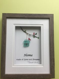 """""""Home """"pebble art, framed by me in grey sahdow box as shown using genuine sea glass, and tree branch. Thanks for your interest! Sea Glass Decor, Sea Glass Crafts, Sea Glass Art, Seashell Crafts, Sea Glass Jewelry, Stained Glass, Stain Glass Cross, Glass Art Pictures, Stone Crafts"""