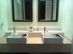 ikea lillangen sinks and loft faucets on custom plywood counter.