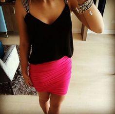 saia-drapeada-pink-assimétrica-comprar