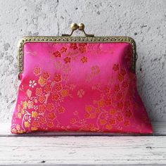 1d0be308da Handmade Pink and Gold Oriental Chinese Blossom Floral Brocade Clutch Bag -  Birthday Gift - Best Friend Gift - Gift for Women - Sister Gift