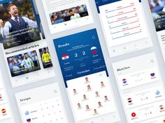 Fifa World Cup App designed by David Felipe V. Connect with them on Dribbble; App Ui Design, Mobile App Design, Mobile Ui, Sports App, Mobile Application Development, Fifa World Cup, Mood Boards, Cricket, Soccer