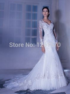 Find More Vestidos de Novia Information about 2014 nuevo cariño sirena blanca manga larga de encaje de tul vestidos de novia tienda en línea los vestidos de noiva,High Quality Vestidos de Novia from Happiness  Wedding  Dress on Aliexpress.com