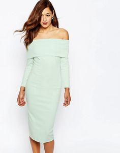 ASOS | ASOS Premium Scuba Deep Fold Off The Shoulder Bardot Midi Pencil Dress at ASOS