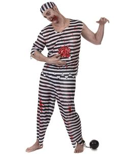 Déguisement prisonnier zombie homme : Ce déguisement de prisonnier zombie est pour homme et comprend un tee-shirt, un pantalon et une coiffe (maquillage et boulet non inclus).Le haut (assymétrique aux manches)... Costume Halloween Homme, T Shirt, Pajama Pants, Pajamas, Sweatpants, Costumes, Zombies, Masquerade, Decoration